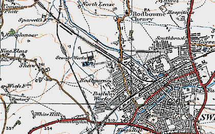 Old map of Even Swindon in 1919