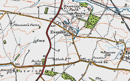 Old map of Astwick Village in 1919