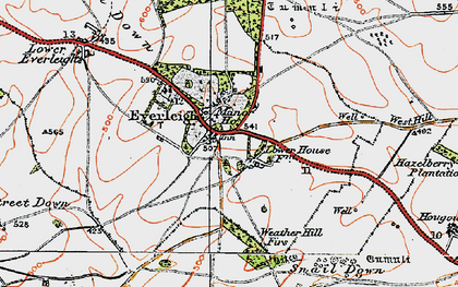 Old map of Everleigh in 1919