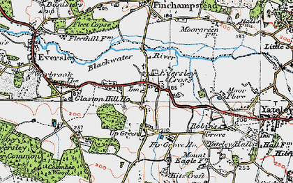 Old map of Eversley Cross in 1919
