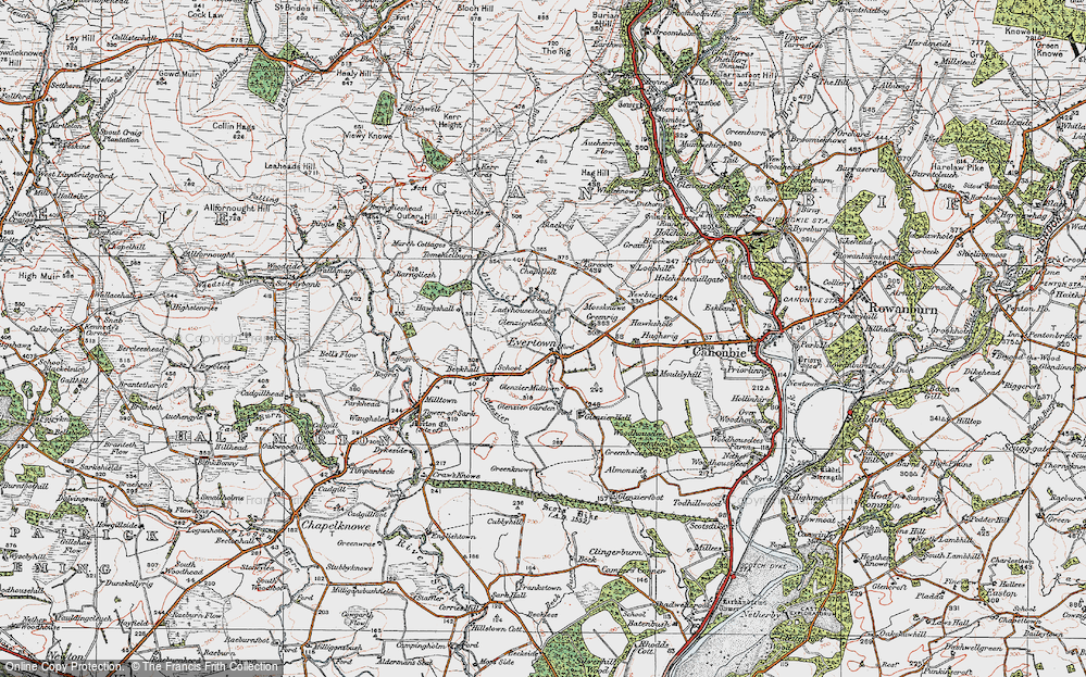 Old Map of Historic Map covering Almonside in 1925