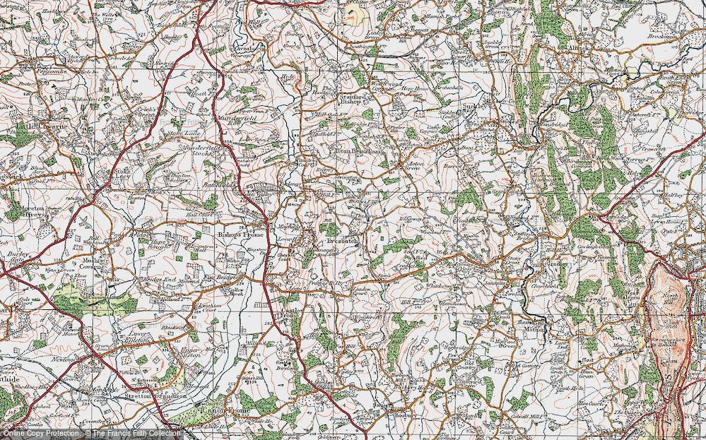 Old Map of Historic Map covering Ashen Coppice in 1920