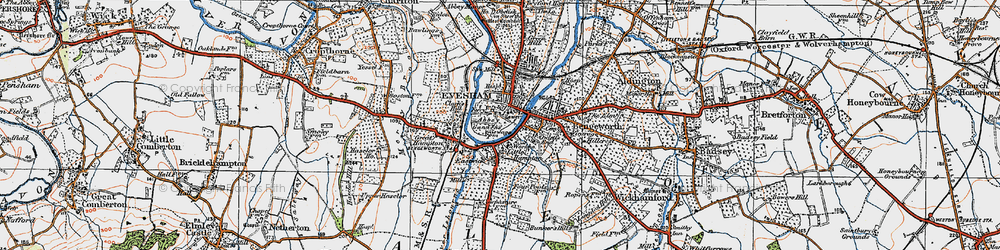 Old map of Evesham in 1919