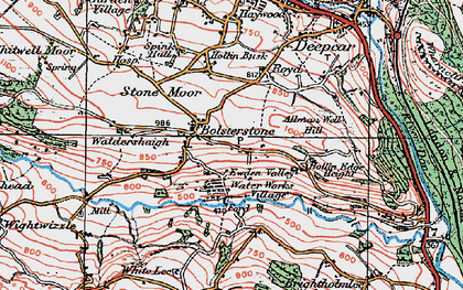 Old map of Ewden Village in 1924