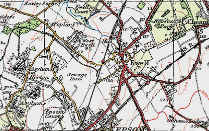 Old map of Ewell in 1920