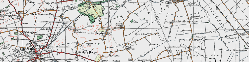 Old map of Westmorelands in 1922