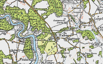 Old map of Exbury in 1919