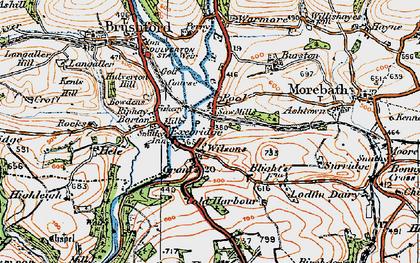 Old map of Exebridge in 1919