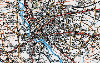 Old map of Exeter in 1919