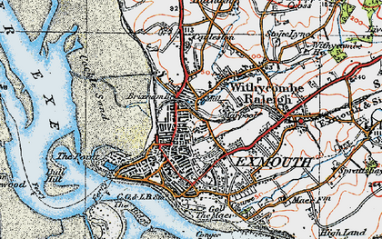 Old map of Exmouth in 1919