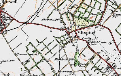 Old map of Exning in 1920