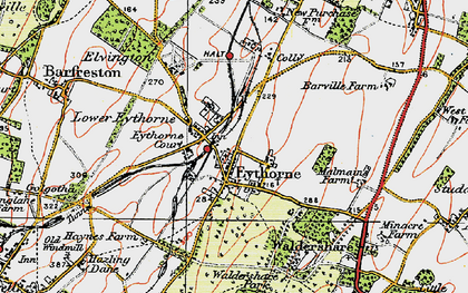 Old map of Eythorne in 1920