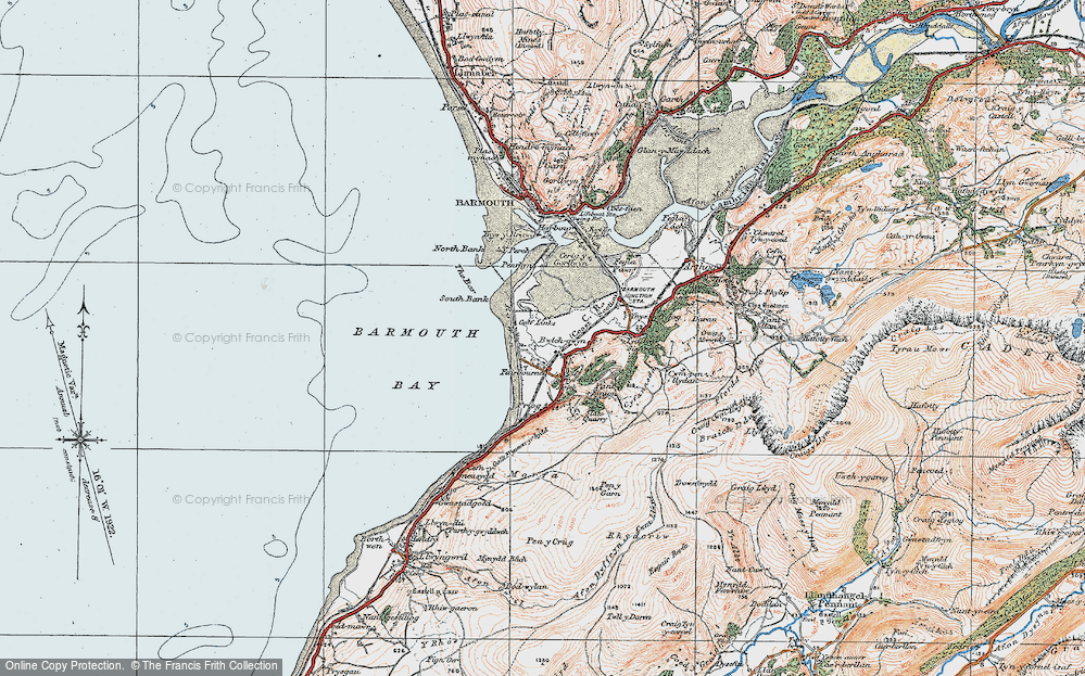 Old Map of Fairbourne, 1922 in 1922