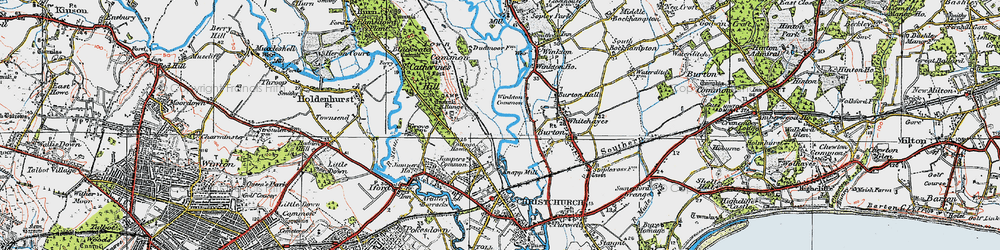 Old map of Winkton Common in 1919