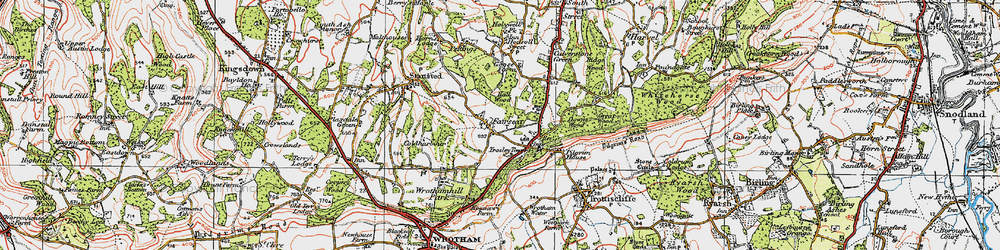 Old map of Wrotham Hill Park in 1920