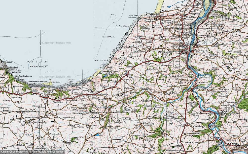 Old Map of Historic Map covering Babbacombe Mouth in 1919