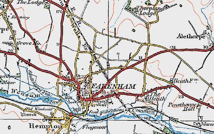 Old map of Fakenham in 1921