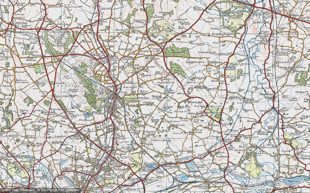 Old Map of Historic Map covering Lindridge, The in 1921