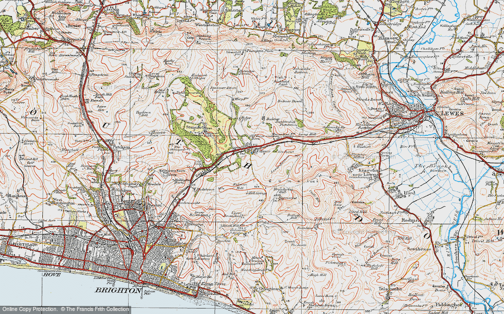 Old Map of Historic Map covering Balmer Down in 1920