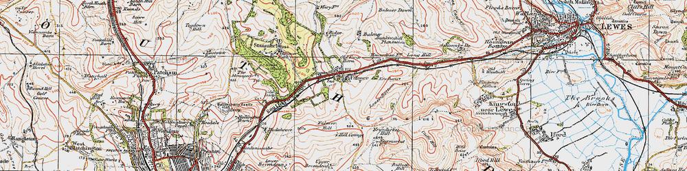 Old map of Falmer in 1920