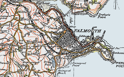 Old map of Falmouth in 1919