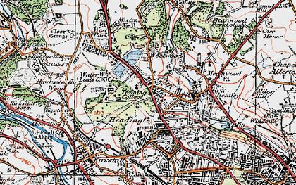 Old map of Far Headingley in 1925