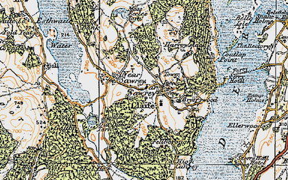 Old map of Far Sawrey in 1925