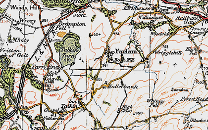 Old map of Whinney Fell in 1925