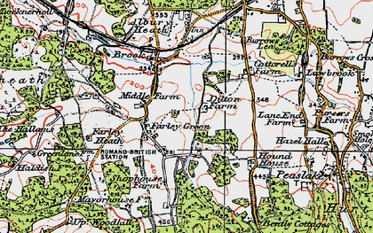 Old map of Farley Green in 1920