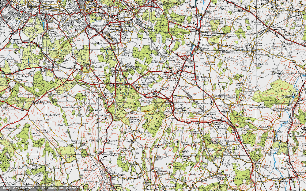 Old Map of Farnborough, 1920 in 1920