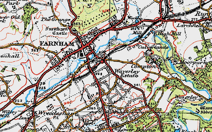 Old map of Farnham in 1919