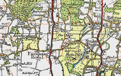 Old map of Farnham Royal in 1920