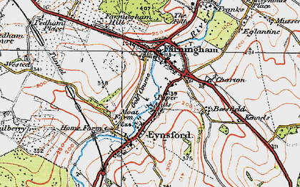 Old map of Farningham in 1920