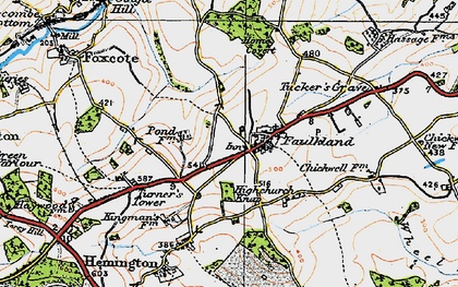 Old map of Faulkland in 1919