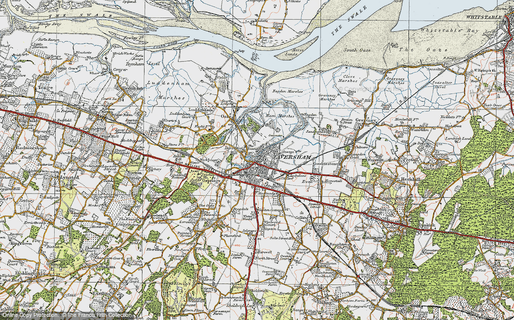 Old Map of Faversham, 1921 in 1921