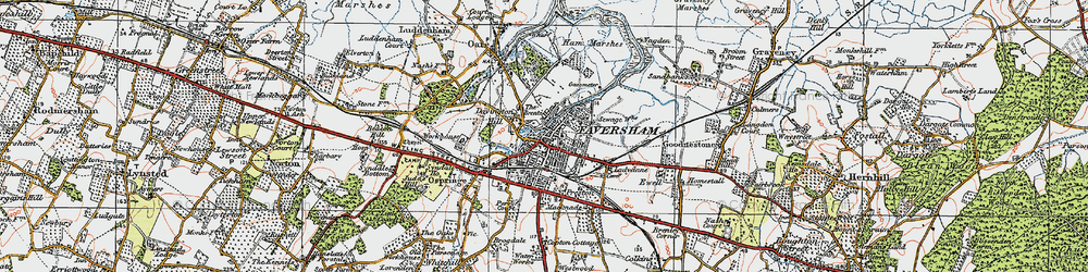 Old map of Faversham in 1921