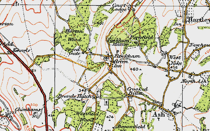 Old map of Fawkham Green in 1920