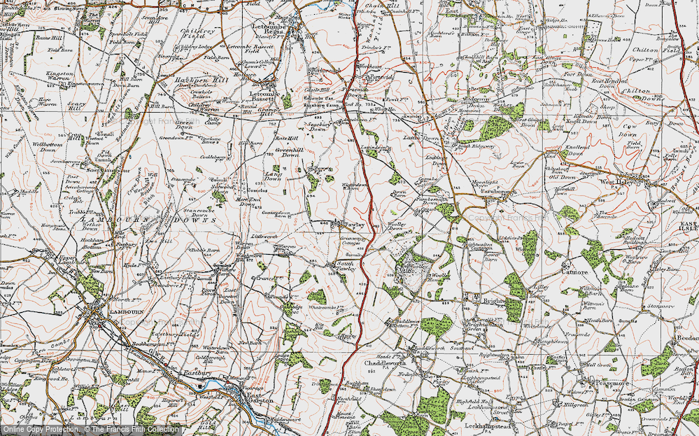Old Map of Historic Map covering Lattin Down in 1919