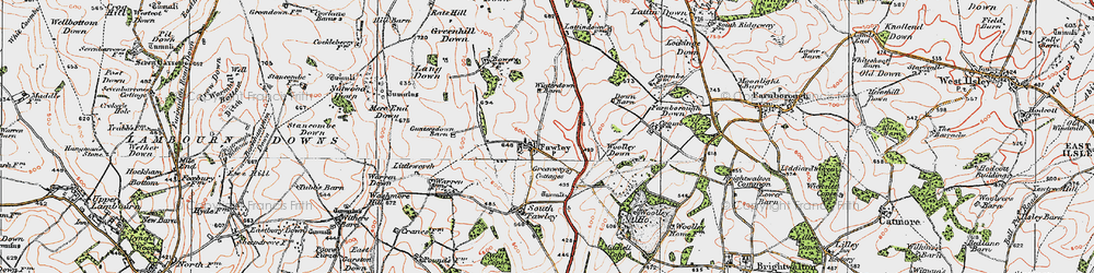 Old map of Woolley Down in 1919