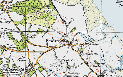 Old map of Fawley in 1919