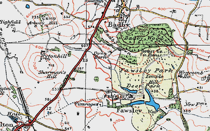 Old map of Badby Down in 1919