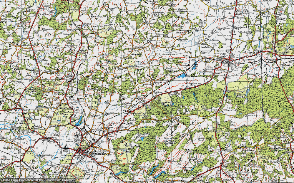 Old Map of Historic Map covering Middle Hill in 1920
