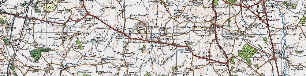 Old map of Feckenham in 1919
