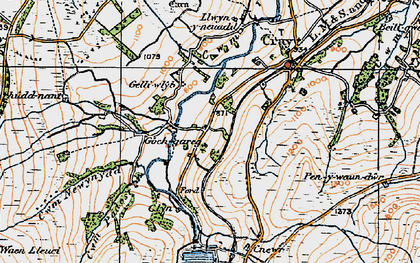 Old map of Aberhyddnant in 1923