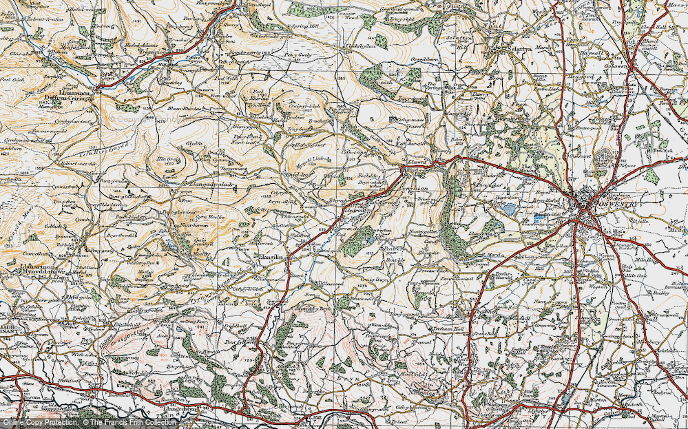 Old Map of Historic Map covering Afon Ogau in 1921