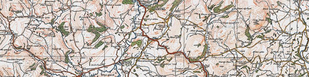 Old map of Ynysau-isaf in 1923