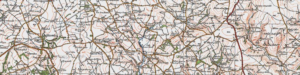 Old map of Afon Ceri in 1923