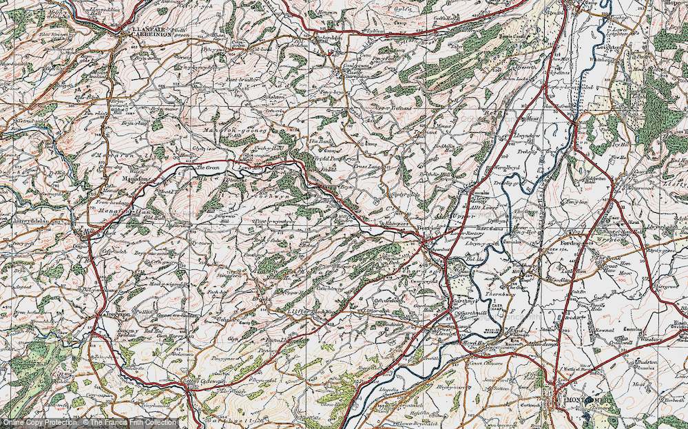 Old Map of Historic Map covering Wyle Cop in 1921