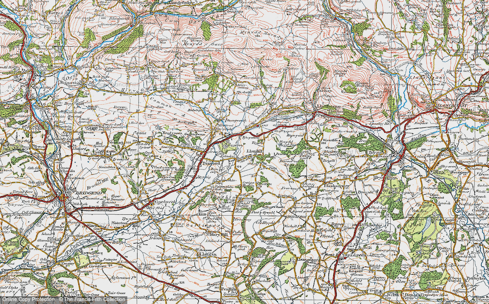 Old Map of Historic Map covering Llanilid in 1922