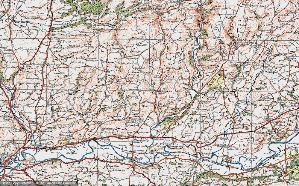 Old Map of Historic Map covering Allt-y-golau-Uchaf in 1923